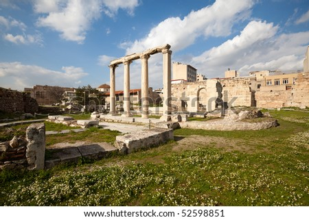 Roman Agora in Athens. Close to Hadrian's library. View from Acropolis side.
