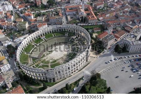 Roman amphitheater aerial view - Pula, Croatia
