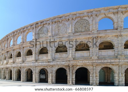 Roman Amphitheater in Macao in sunny day - stock photo