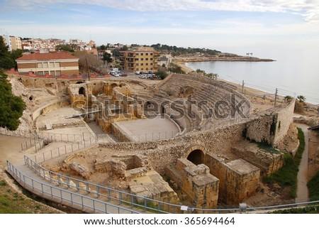 Roman amphitheater in the city of Tarragona, Tarraco during roman empire Zdjęcia stock ©
