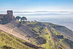 Roman amphitheater in the ruins of the ancient city of Pergamum known also as Pergamon, Izmir, Turkey.