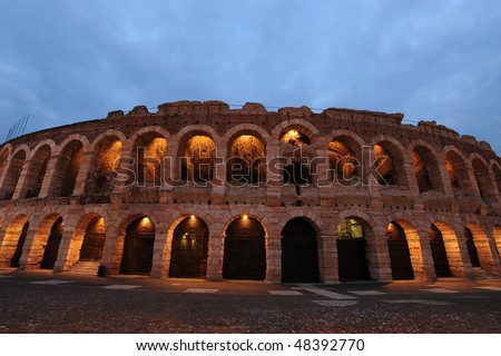 Roman amphitheater internationlly known for opera performances, Verona