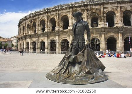 Roman Amphitheater, Nimes, France - stock photo