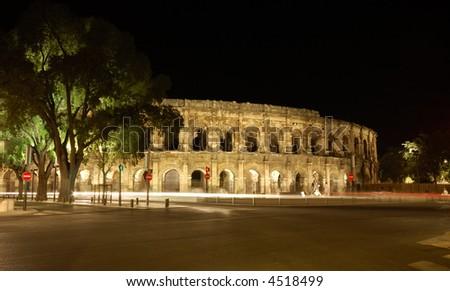 Roman Amphitheater, Nimes, France, illuminated at night