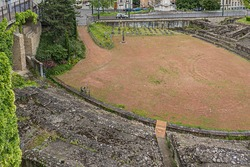 Roman Amphitheater of the Trois Gaules on the Croix-Rousse Hill built circa 20AD. This Amphitheater used for gladiators battles and hunting. Lyon, Rhone, France.