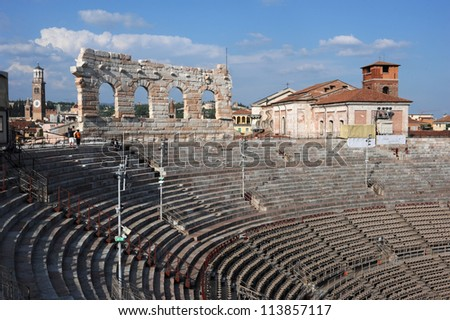 Roman Amphitheater of Verona on Italy, UNESCO World Heritage - stock photo