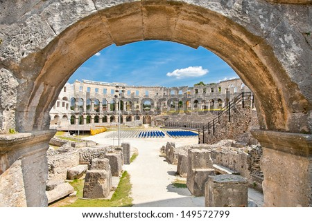 Roman amphitheatre (Arena) in Pula. It was constructed in 27 BC - 68 AD and is among six largest surviving Roman arenas in the World. Pula Arena is best preserved ancient monument in Croatia. #149572799