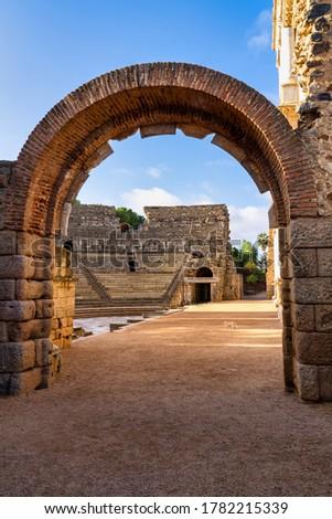 Roman Amphitheatre in Merida, Augusta Emerita in Extremadura, Spain. Roman City - Temples, Theatres, Monuments, Sculptures and Arenas