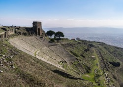 Roman amphitheatre in the ancient city Pergamon, Bergama, Izmir, Turkey.