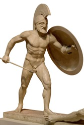 Roman ancient sculpture of warrior. Isolated on white background