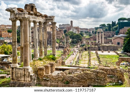 Roman antiquity: View of the Roman Forum in Rome, Italy