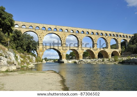 Roman aquaduct Pont du Gard, France. This bridge is an Unesco World Heritage site.