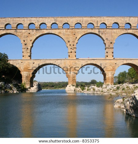 Roman aqueduct at Pont du Gard France