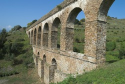 Roman aqueduct of almunecar, Granada, Spain. The major work and the best preserved one of the bequeathed ones for the Roman culture to Almunecar.