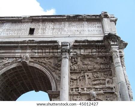 Roman arch of triumph in Rome