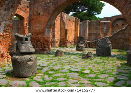 Roman bakery in Ostia Antica