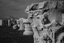 Roman Bath Ruins Archaeology BlackandWhite