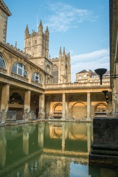 Roman Baths and Abbey in the UNESCO World Heritage site of Bath, England.
