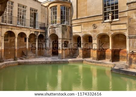 Roman baths in Bath, England, UK. #1174332616