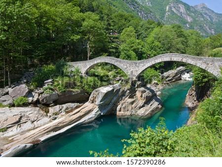 Photo of  Roman Bridge across river Verzasca, near Lavertezzo village, Valle Verzasca, Ticino, Switzerland