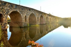 Roman Bridge in Merida, Spain, on the Guadiana river. Built in the 1st century BC. It has a length of 790 meters