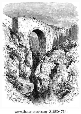 roman bridge in ronda  vintage...