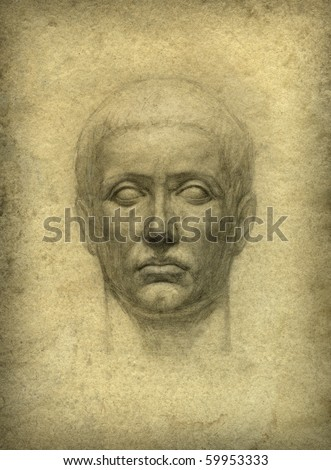 Roman bust. Pencil on paper.
