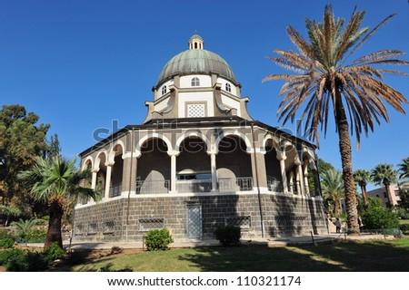 Roman Catholic chapel at Mount of Beatitudes near Lake Kinneret, Israel. - stock photo