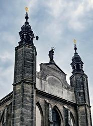 Roman Catholic chapel Sedlec ossuary Kostnice Church a place Kutna Hora, Czech Republic. Human skulls. Memento more.