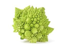 Roman cauliflower. Romanesco broccoli isolated on white background.