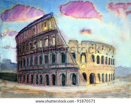 Roman cityscape of the Colosseum painted by watercolor. I painted it in 2004.