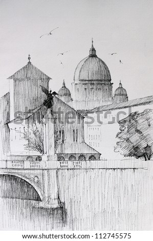 Roman cityscape of the Vatican City  painted by ink