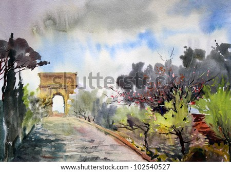 Roman cityscape with via Sacra and Arch Tito painted by watercolor.