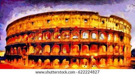 Roman coliseum colorful illumination at night oil painting
