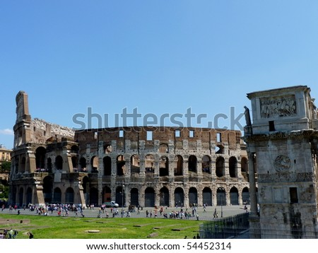 Roman Coliseum in Rome   and constantine memorial arch