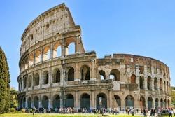 Roman Colosseum architecture landmark in a tilt shift photography. Rome, Italy