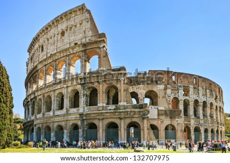 Roman Colosseum architecture landmark in a tilt shift photography. Rome, Italy
