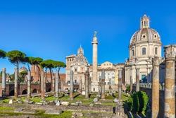 Roman Column of Honour and Trajan's Forum with the Church of Santa Maria di Loreto in Rome and the Church of Santissimo Nome di Maria al Foro Traiano