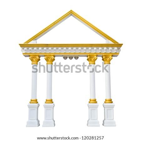 Roman columns gate isolated on white