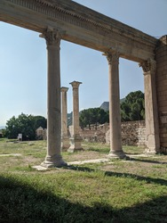 Roman colums support the last of the Acropolis in ancient Sardis.