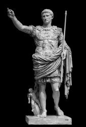 Roman emperor Augustus from Prima Porto statue isolated over black background