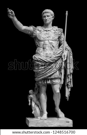 Roman emperor Augustus from Prima Porto statue isolated over black background Stockfoto ©