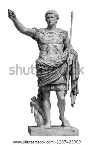 Roman emperor Augustus from Prima Porto statue isolated over white background Stockfoto ©