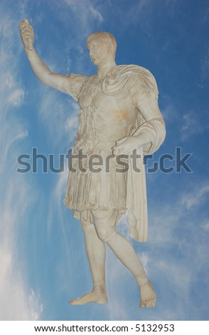 Roman emperor Julius Caesar statue against blue sky