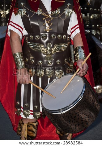 Roman Empire army drummer detail with eagle leather breastplate