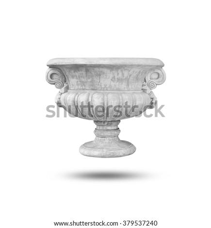 Roman flower pot white color isolated on white background Imagine de stoc ©