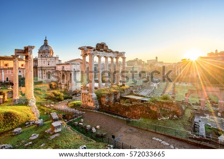 Roman Forum at sunrise in Rome, Italy. Rome landmark and antique architecture. Ancient Forum was the center of social life in Rome