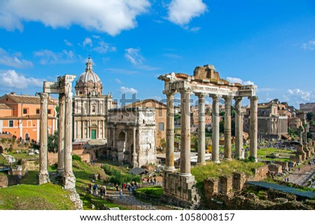 Roman Forum (Foro Romano) in Rome, Italy. Roman Forum is one of the main tourist attractions in Europe. Scenic ruins of the Roman Forum