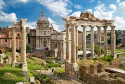 Roman Forum in Rome, Italy, It is one of main tourist attractions of Rome. Nice panorama of the famous old Roman Forum or Foro Romano in summer. Ancient architecture and cityscape of historical Rome.