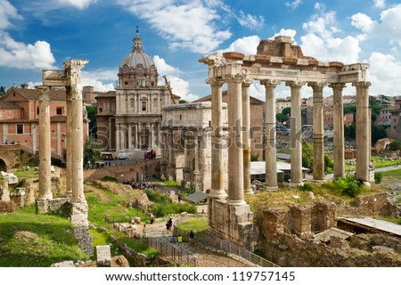 Roman Forum in Rome, Italy, It is one of the main tourist attractions of Rome. Panorama of the famous Roman Forum or Foro Romano in summer. Ancient architecture and cityscape of historical Rome.